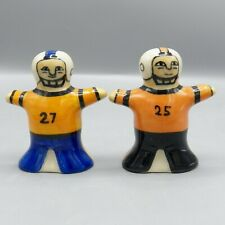 Hartstone Football Player Salt Pepper Shakers Blue Orange Black Uniform 25 27