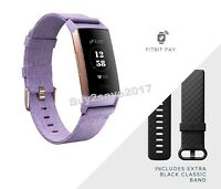 Fitbit Charge 3 Special Edition Fitness NFC Lavender Woven S & L Bands *NEW*