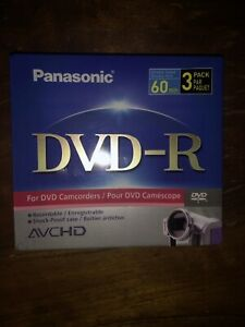 Panasonic DVD-R 3 pk for Camcorders 60 min Double Sided