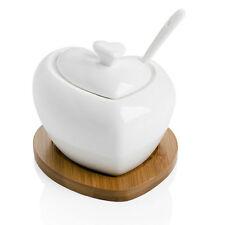 BRANDANI 54206 zuccheriera tutto cuore in porcellana con supporto in bambo