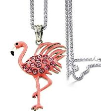 "Pink Flamingo Pendant Necklace on 24"" Stainless Steel Chain Fast Shipping"