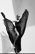 ALAIA Black Flowing Coeur RARE MAXI Slit Full Skirt Dress Gown Fr 38 NWOT