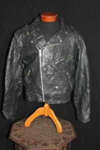 RARE VINTAGE LEATHER GOLD 1970'S BLACK LEATHER CYCLE JACKET SIZE 44