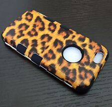For iPhone 6 / 6S - HARD & SOFT RUBBER HYBRID CASE COVER GOLD LEOPARD CHEETAH