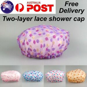Shower Cap Bath Hat Hair Care Waterproof Double Layer Reusable Sleep Caps Women