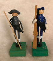 2 Vintage Hand-made Wood Dolls ~ w/Clothes ~ Blue & Grey ~ Civil War soldiers