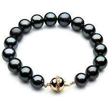 New Black Tahitian Pearl Diamond Bracelet 9-11mm Pacific Pearls® Christmas Gifts