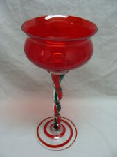"Jozefina Krosno Christmas Holidays Art Glass Hand Blown Red Candle Holder 12"" #2"