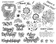 Unmounted Rubber Stamps Sheets, Sunflower Wreath, Birthday, Flowers, Sayings