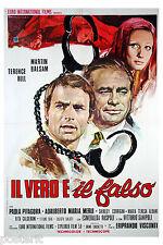 manifesto 2F originale IL VERO E IL FALSO Terence Hill Eriprando Visconti 1972