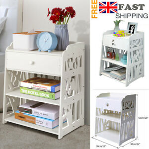 Bedside Tables Cabinet with Drawer Night Stand Storage Furniture Shelf Cupboard