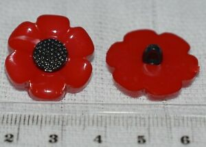 Poppy Style Flower Novelty Childrens Craft Shanks Buttons Pack Of 10 (21mm)