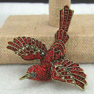 Heidi Daus Sparkling Swallow Swarvoski Crystal Pin SIAM RED BEST OUT Rv $149