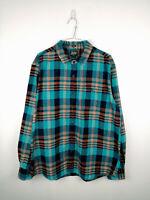 Vintage Mens Flannel Shirt Bixby Size XL Blue Check Long Sleeve 100% Cotton Top