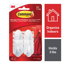 2x Command Medium Hooks with 4x Command Strips 17081-white