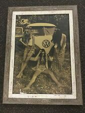 Custome Framed Hippie chics  Kombi poster 45 cm x 61cm