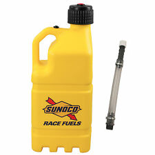 Sunoco Racing Yellow 5 Gallon Race Gas Alcohol Diesel Can Fuel Jug with Hose Kit