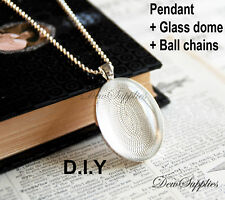 10 x DIY Oval Silver color pendant kit, Trays glass cabochon and chains 40x 30mm