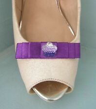 2 Small Purple Bow Clips for Shoes with Three Tone Flower Centre