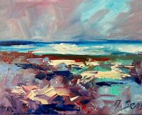 Sea Ocean Waves  Seascape Oil Painting Impressionism Texture Modern Collectable