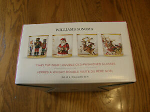 Williams Sonoma Twas the Night Before Christmas Double Old Fashioned Glasses-New