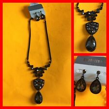 CHRISTINA C. Statement Goth Necklace / Earrings Set Black w Gray Crystals NWT