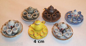 service à thé, café, miniature maison de poupée, 1/12 poterie peint à la main