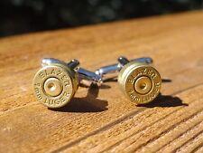 9mm Luger Cufflinks -- Ammo Ammunition Brass Bullet Caliber