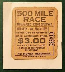 MAY 30th 1955 INDIANAPOLIS MOTOR SPEEDWAY TICKET 500 MILE RACE
