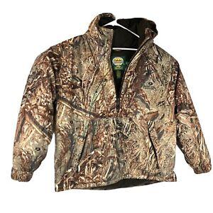 Cabela's Fleece Lined Hooded 1/2 Zip Dry-Plus Pullover Mossy Oak Duck Blind XL