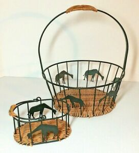 2 Oval and Round Metal and Wicker Basket with Handles