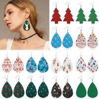 Christmas Deer Tree Teardrop Leather Hook Earrings Ear Drop Dangle Xmas Gifts