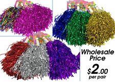 WHOLESALE PRICE Metallic Cheerleader Cheerleading Dance Pom Poms Pompoms