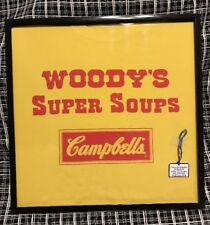"WOODY'S SUPER SOUPS ""CAMPBELL'S"" COLLECTOR ADVERTSNG T-SHIRT BLACK SQUARE FRAMED"