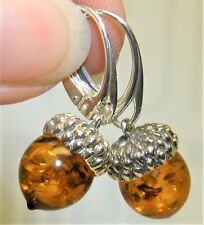 925 Sterling Silver  Cognac Amber Dropper Drop Oak Tree Acorn Hook Earrings