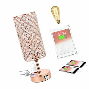 Touch Control Table Lamp, Crystal Lamp with Dual USB Port & Outlet, 3 Way Dim...