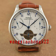 Parnis White Dial Power Reserve ST2505 Mechanical automatic MEN watch Leather