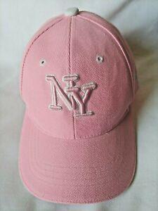 New York Pink w/ White Detail Acrylic Baseball Hat Cap Vilcro Strap NY