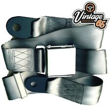 Vintage & Classic Car Grey Chrome Buckle Lap Seat Belt Adjustable Front & Rear