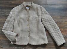 JOBIS German Designer Wool Tweed Jacket Blazer UK 14 Wool Alpaca Cream Mix