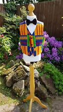 Boys,Toddler, Kids, Waist Coat made with 100% cotton Kente and satin fabric