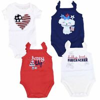 4th of July One Piece Creeper Bodysuit for Baby Girls USA America Jumping Beans