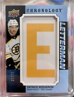 "2019-20 CHRONOLOGY PATRICE BURGERON LETTERMAN ""E"" /35 BOSTON BRUINS L-BO-PB"
