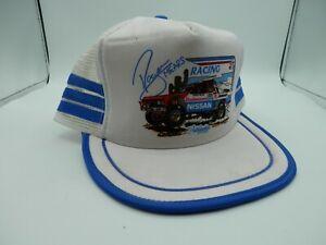 Vintage Roger Mears Racing Nissan Budweiser Mesh Snapback Hat 3 Stripe Sunbelt
