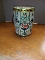 Vintage Floral Flower Metal Biscuit Candy Tin Canister with Handle England
