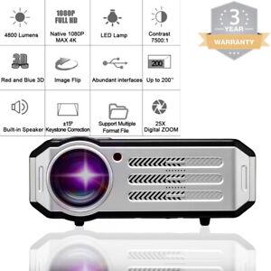 4800 Lumens 1080P FULL HD LED Home Theater Portable Projector USB VGA HDMI 200''