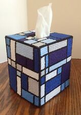 Mondrian Inspired Blue Tones Tissue Cover handmade Boutique size acrylic yarn