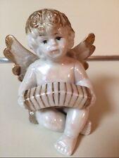 Vintage Angel Cherub Wings Rainbow Iridescent Porcelain Figurine Accordion