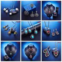 Fashion Women Rhinestone Necklace Earrings Charm New Set Crystal Wedding Jewelry