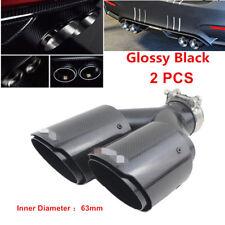 "2PC Auto Car Carbon Fiber+Steel Exhaust Tip 2.5"" Inlet End Dual Pipe Muffler L+R"